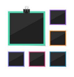 Photo frames sticked with tape and hanged vector