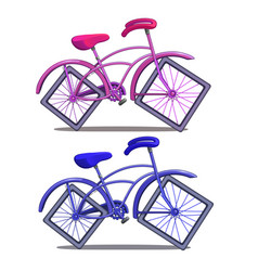 Pink and blue bicycle with square wheels vector