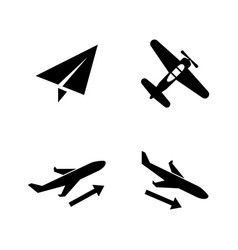 plane aircraft airplane simple related icons vector image