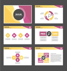 Purple yellow presentation templates Infographic vector