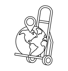 Pushcart with a globe in black and white vector