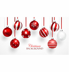 Red Christmas Balls Set vector image