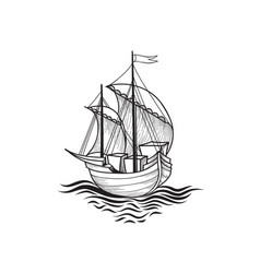Sailing ship retro transport marine background vector