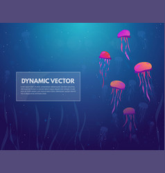 sea and jellyfish background banner vector image