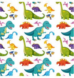 Seamless background with many dinosaurs vector