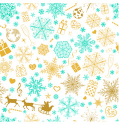 Seamless pattern of snowflakes and christmas vector