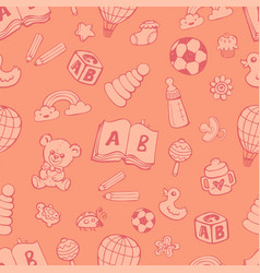 seamless pattern with cute baby toys vector image