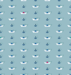 seamless pattern with paper boat and anchor vector image
