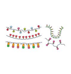 set 5 different festive garlands hand vector image
