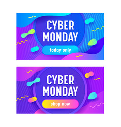 set advertising sale banners for cyber monday vector image