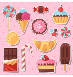 Set colorful sticker candy sweets and cakes vector