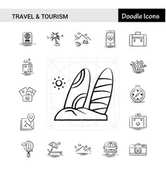 set of 17 travel and tourism hand-drawn icon set vector image