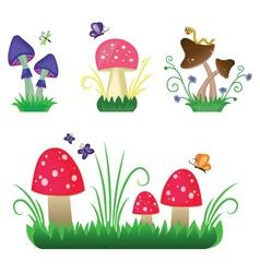 Set of mushrooms on green grass vector image