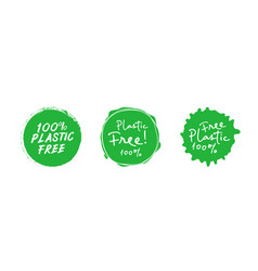 set plastic free green eco friendly design vector image