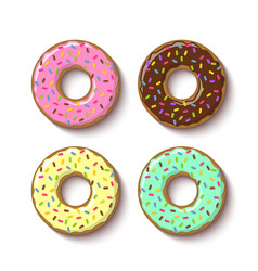 Set ring shaped donuts covered with sweet vector