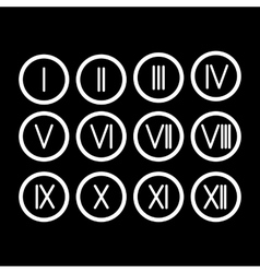 Set Roman numerals 1-12 icon vector