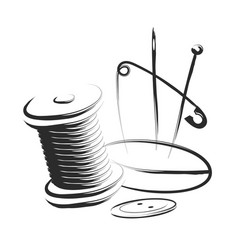 sewing and sewing thread needle silhouette vector image
