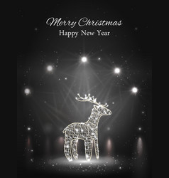 shiny reindeer with spotlight on stage vector image
