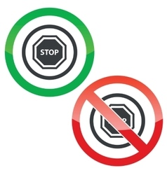 STOP permission signs vector