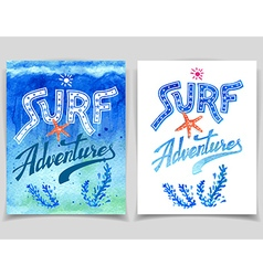 Surf Adventures watercolor cards vector