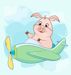 toy plane with a propeller and a pig vector image