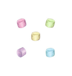 watercolor marshmallow set vector image