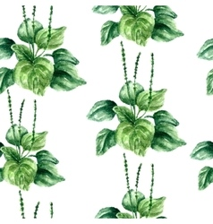 Watercolor plantain herbs seamless pattern vector