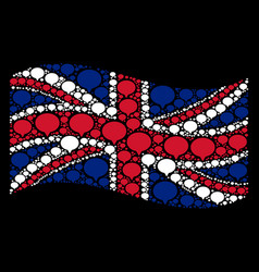 waving uk flag collage of hint icons vector image