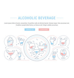 Website banner and landing page alcoholic vector