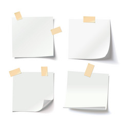 white note papers with adhesive tape vector image