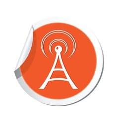 wi fi icon orange sticker vector image