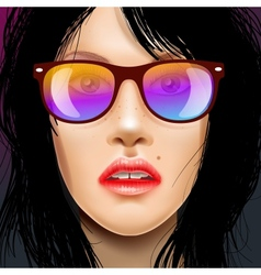 Womans face in sunglasses vector