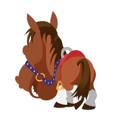 Cartoon brown horse View from horse back vector image vector image