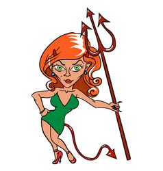 Cartoon image of devil girl vector