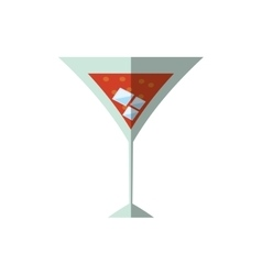 cocktail cherry alcohol ice shadow vector image