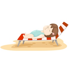 girl on beach bed vector image