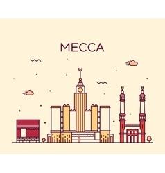 Mecca skyline trendy linear vector