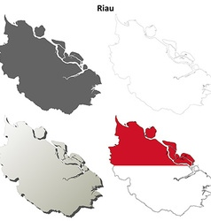 Riau blank outline map set vector image vector image