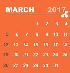 Simple calendar template of march 2017 vector image vector image