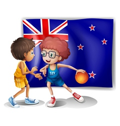 The flag of New Zealand in front of the basketball vector image vector image
