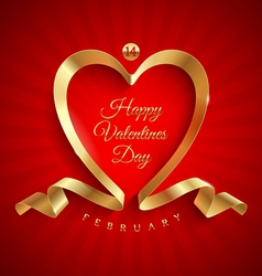 Valentines day greeting with golden ribbon vector image vector image