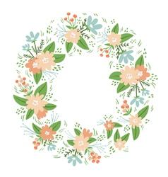 Vintage floral wreath frame vector image vector image