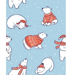 Winter seamless pattern with polar bears in vector image vector image