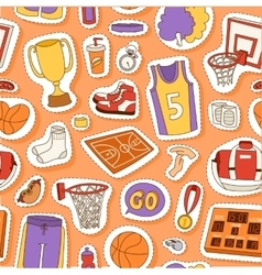 Basketball sport seamless pattern vector image
