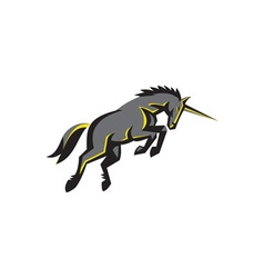 Black Unicorn Horse Charging Isolated Retro vector image vector image