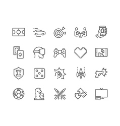 Line Games Icons vector image