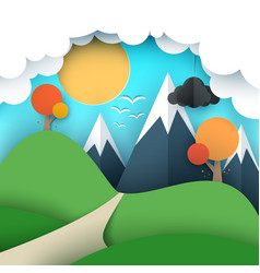 paper travel sun cloud hill vector image vector image