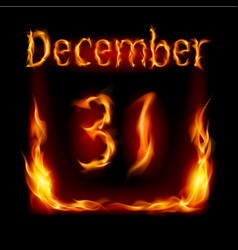 thirty-first december in calendar of fire icon on vector image vector image
