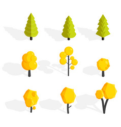 autumn trees set low poly vector image