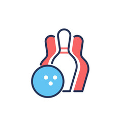 bowling - modern line design single icon vector image vector image